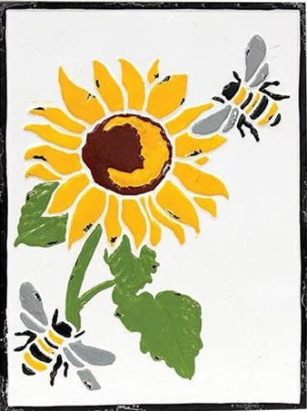 Vintage Sunflower Metal Wall Sign