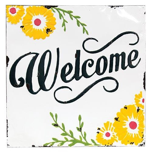 Vintage Welcome Sunflower Metal Sign