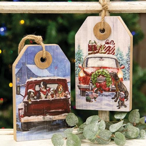Winter Scene Wooden Christmas Tags