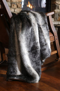 Black Wolf Oversized Faux Fur Throw