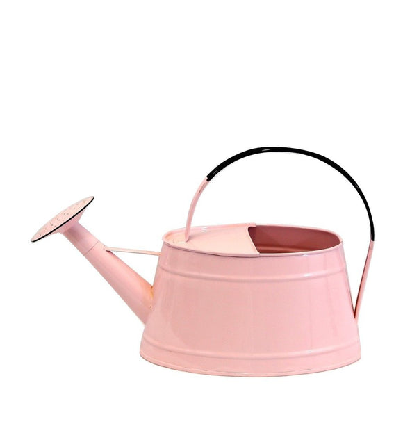 Pink enamel watering can, perfect as a wine holder or nice decorative piece in our garden.