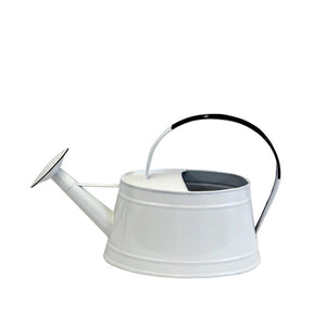 White Enamel Watering Can with Handle