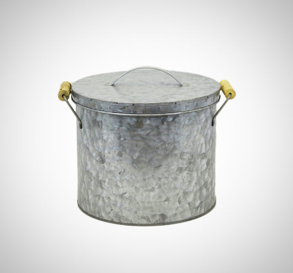 Galvanized Ice Bucket With Wooden Handles