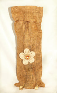 "Burlap Wine Bag with Cream Flower on Front.  14"" x 5"""