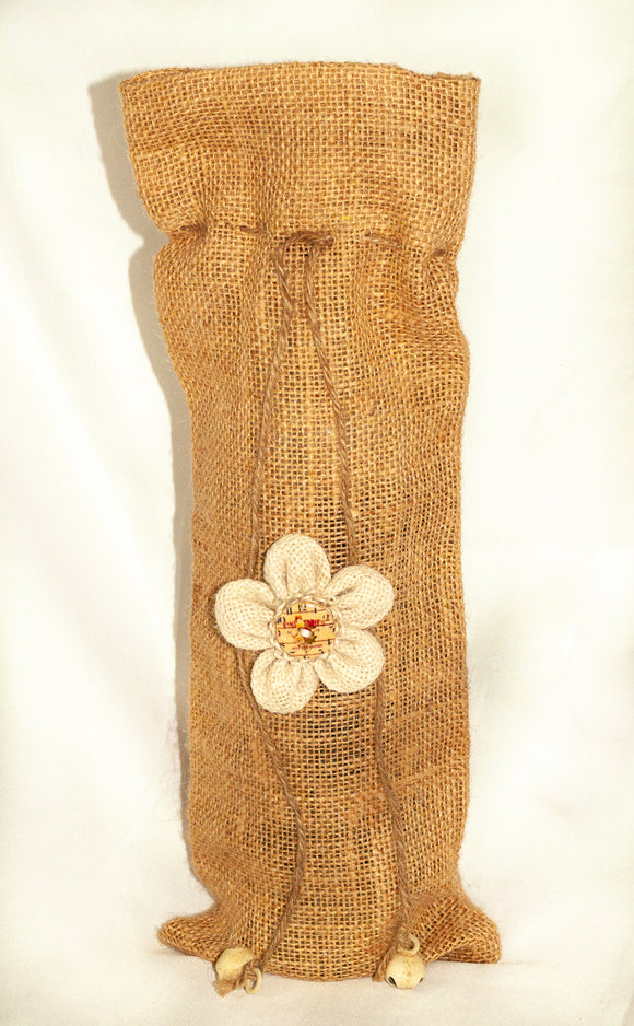 Burlap Wine Bag with Cream Flower on Front.  14