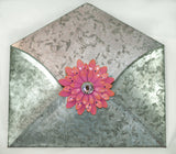 "Galvanized metal wall envelope. Weathered look. Measures 9.5"" L by 9"" T.  Flower Magnets sold separately."
