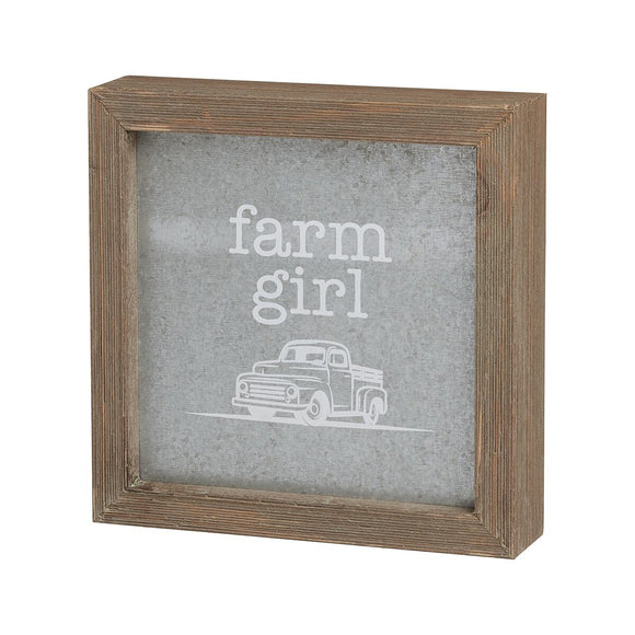 Wood and Metal Farm Girl Sign