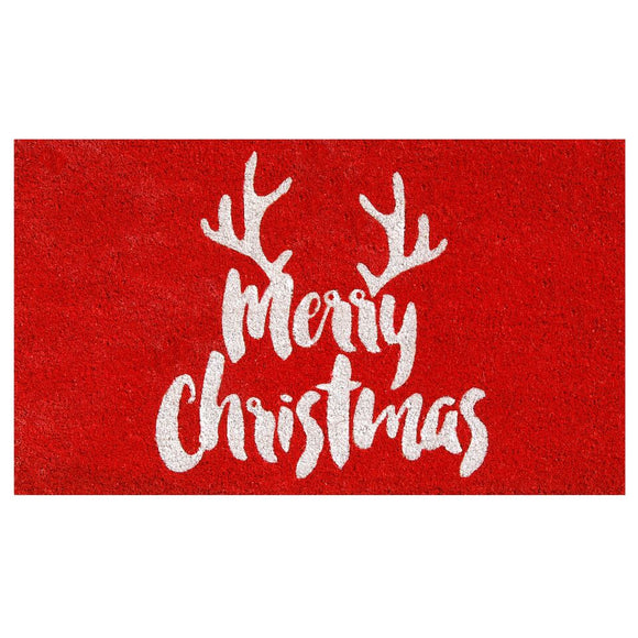 Merry Christmas Antlers Doormat