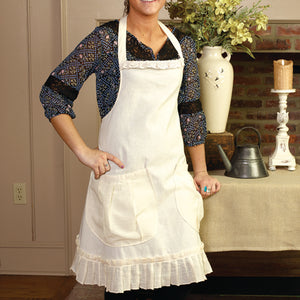 White Ruffled Apron