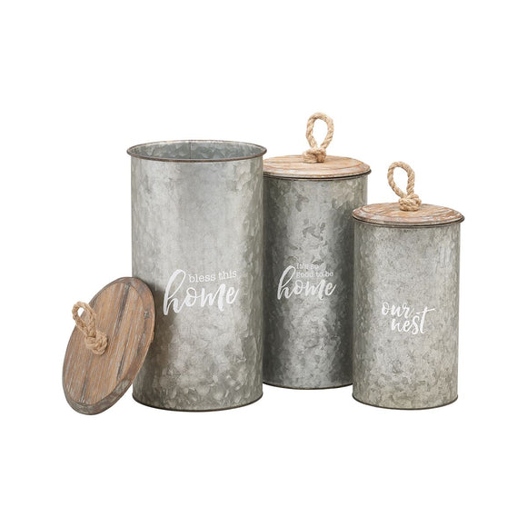 Galvanized Metal Nesting Canister Set