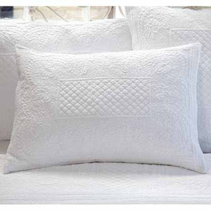 Quilted White King Pillow Sham
