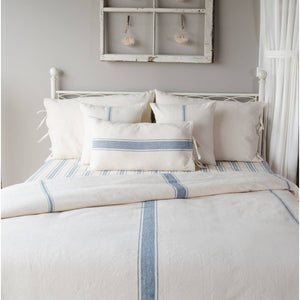 Grain Sack Stripe Colonial Blue + Cream Duvet Cover