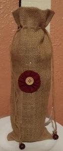 Burlap Wine Bag With A Burgundy and Tan Flower and Jute Pull Strings