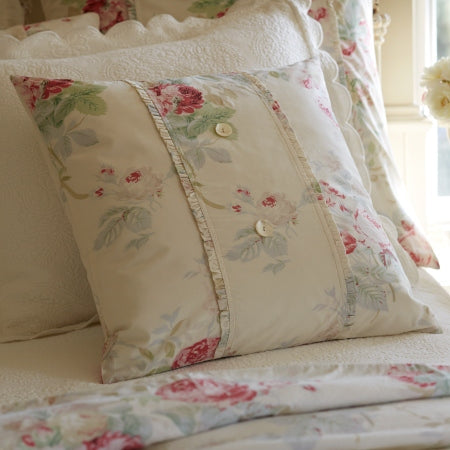 Shore Rose Cream Porch Pillow