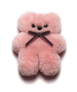 Sheepskin Little Cuddle Teddy Bear in Rose
