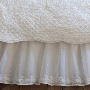Daisy Dot White Embroidered Bed Skirt