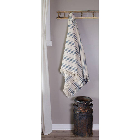 Grain Sack Colonial Cream + Blue Stripe Afghan