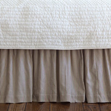 Farmhouse Brown + Cream Bed Skirt