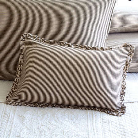Brown and Cream Stripe Boudoir Pillow