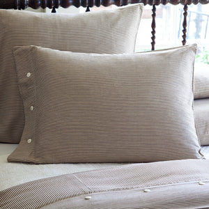 Farmhouse Brown + Cream Stripe Standard Pillowcase Sham