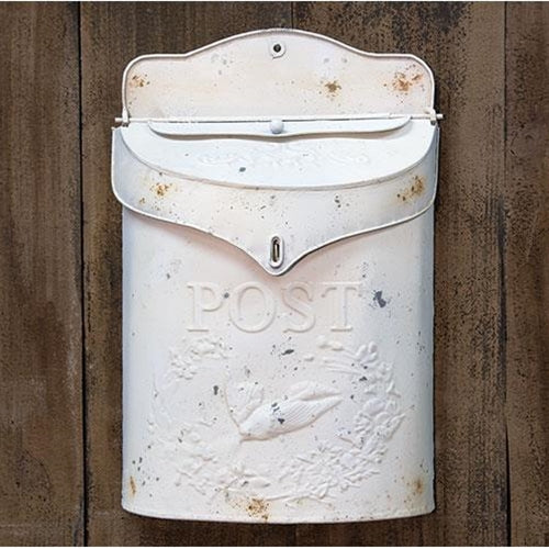 Distressed White Post Box