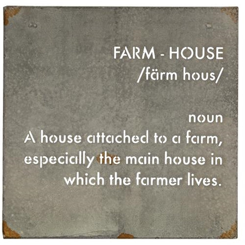 Farmhouse Definition Metal Sign