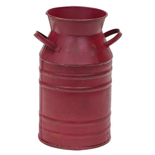 Metal Burgundy Milk Can