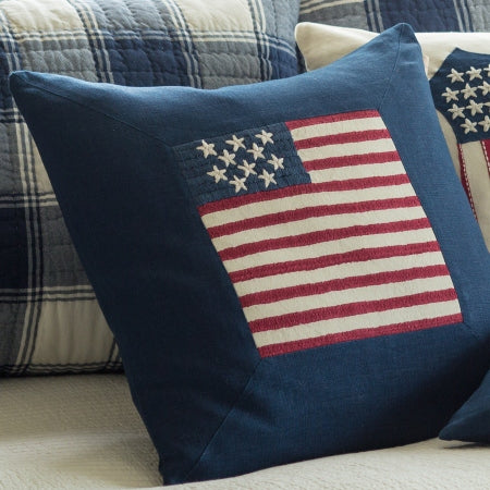 American Flag Indigo Porch Pillow