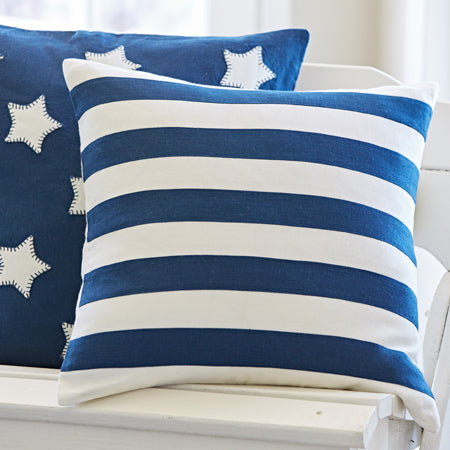 Indigo and Cream Rugby Pillow