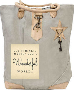 And I Think To Myself, What a Wonderful World Tan Tote