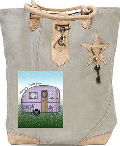 Happy Camper Tan Canvas Tote