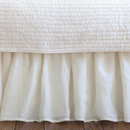 Cream Linen Voile Bed Skirt