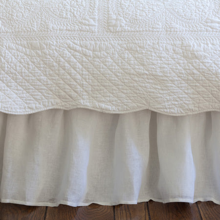 White Linen Voile Bed Skirt