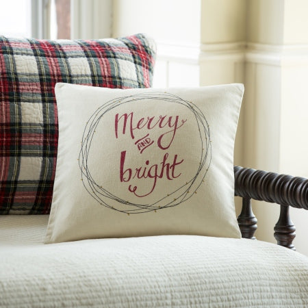 Merry and Bright Holiday Throw Pillow