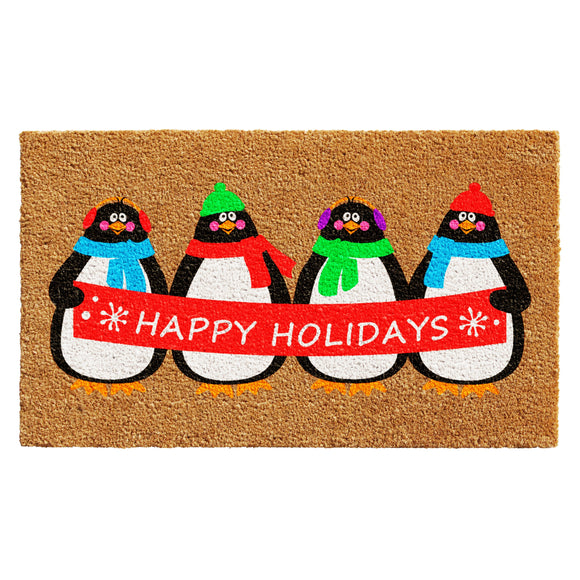 Happy Holidays Penguins Doormat