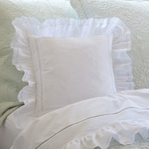 Ruffled White Throw Pillow