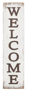 White Wooden Welcome Leaner Sign
