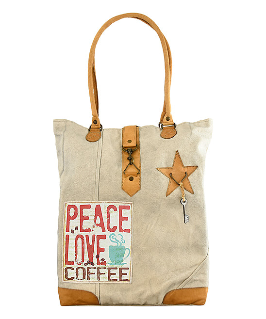 Peace, Love and Coffee tan canvas and leather tote.