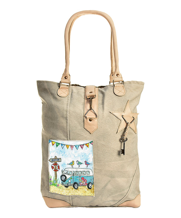 Tan Beach Van Canvas Tote.