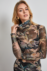 Stretch-Jersey printed turtleneck