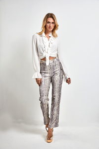 Snake print Sequined pants