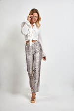 Load image into Gallery viewer, Snake print Sequined pants