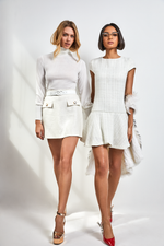 Load image into Gallery viewer, Mini tweed white Dress