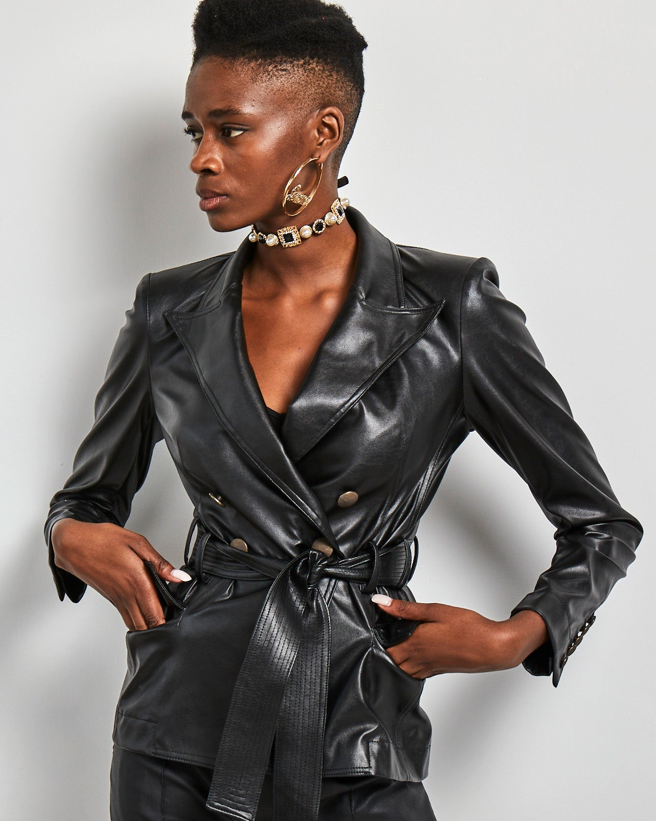 Black Double Breasted eco leather belted  jacket