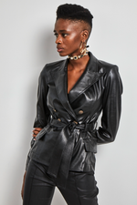 Load image into Gallery viewer, Black Double Breasted eco leather belted  jacket