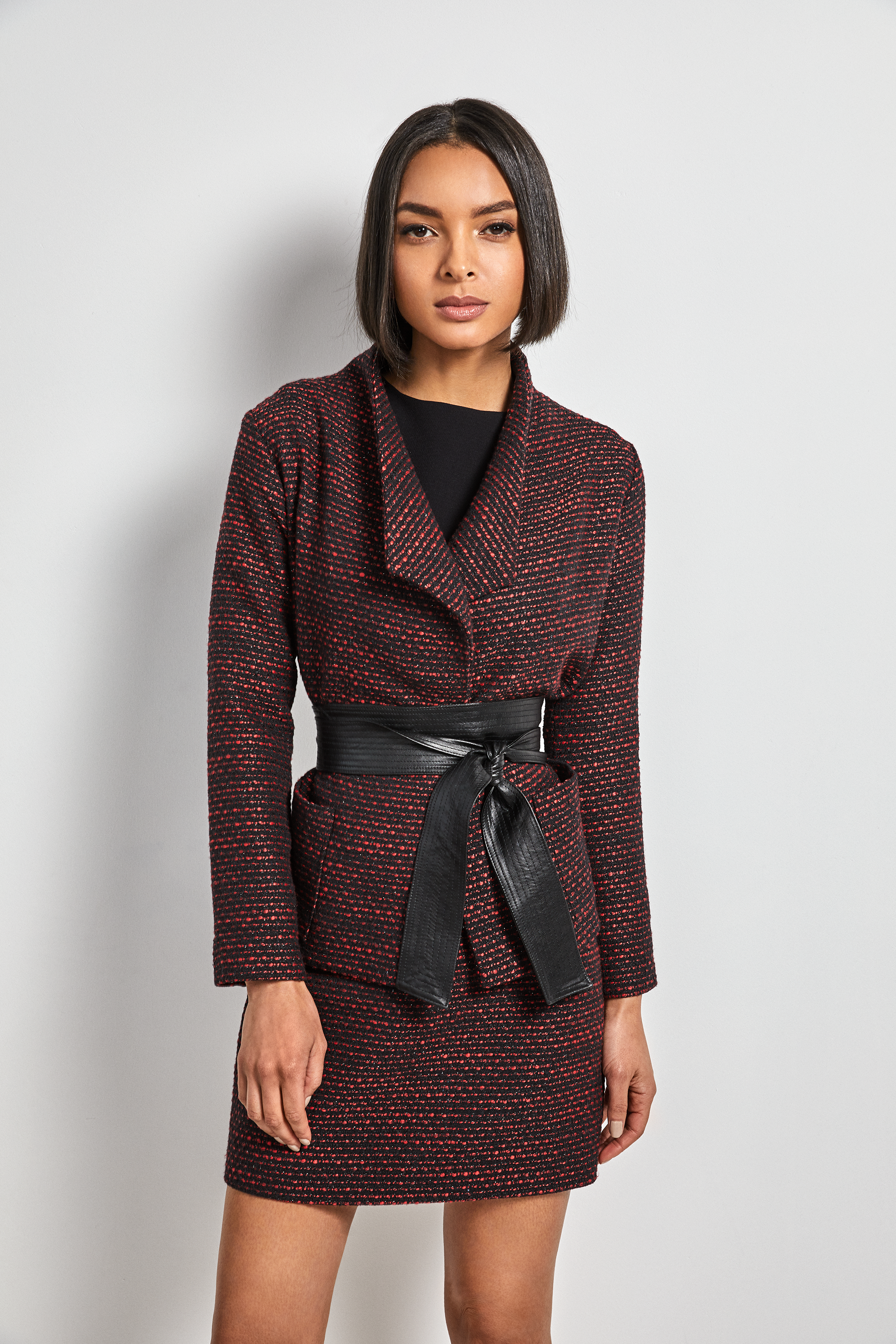 Tweed belted Jacket