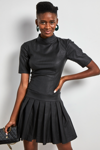 Faux leather mock-neck pleated dress