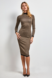 Super fitted stretch high neck dress