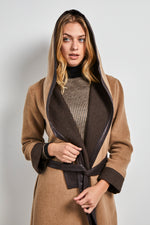 Load image into Gallery viewer, Two tone hooded long coat