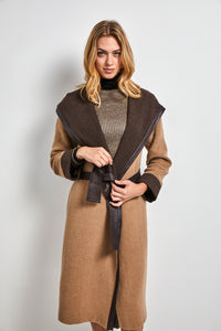 Two tone hooded long coat